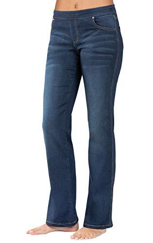 PajamaJeans Womens Bootcut Jeans Distressed - Curvy Jeans, Indigo, L / 12-14