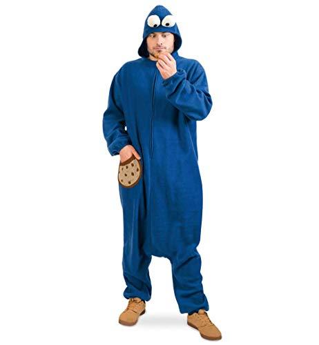 KarnevalsTeufel Erwachsenenkostüm Keksmonster Overall in blau mit Kapuze Onesie