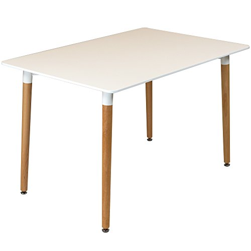 Charles Jacobs 120cm Rectangular Dining Table With White Tabletop and Solid Beech Wood Legs