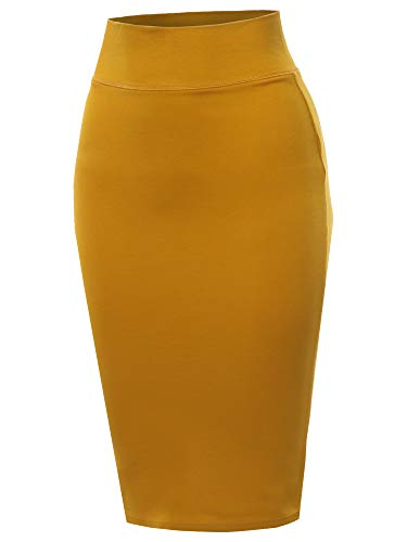 A2Y Solid Ponte Knee Length Slit Techno Span High Waist Pencil Skirt Mustard S