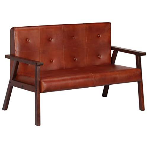 Festnight 2-Sitzer-Sofa | 2er Echtes Leder Couch | Wohnzimmer Ledersofa | Retro Loungesofa | Braun Echtleder und Massives Akazienholz 111 x 61 x 73 cm