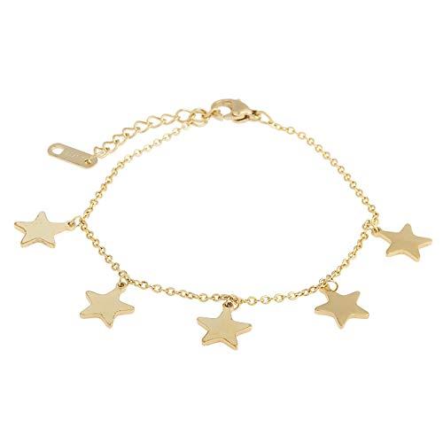 inSCINTILLE Pulsera de Acero Dorado con diseño de Corazones y Estrellas, con Dije de Estrella
