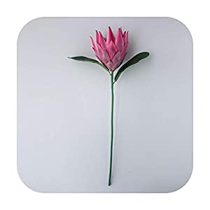 HaHapo Luxury Big Artificial Africa Protea Cynaroides Silk King Flowers Branches Fake Flores for Home Decoration Wreath Plants Floral-Purple-
