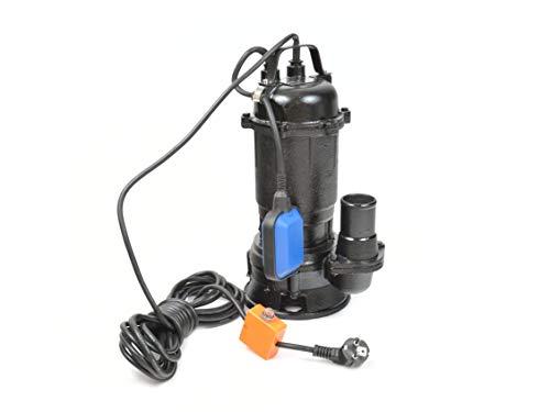 Bomba de Aguas Sucias - Bomba Sumergible con Trituradora y Flotador, Cuerpo en Hierro Fundido - Bomba de Inmersión para Aguas Residuales WQD - 550W, 17 000L/h, Altura de Impulsiòn máx. 8m