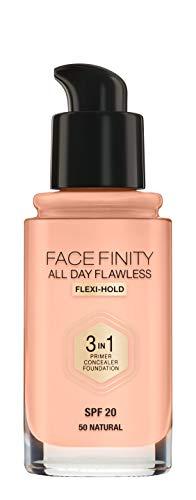 Max Factor Facefinity All Day Flawless 3 in 1 Foundation in Natural 50 – Primer, Concealer & Foundation in einem – Für ein perfekt mattiertes Finish – 1 x 30 ml