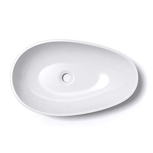 Mai & Mai 59,8x36x14cm Waschbecken oval Colossum809 Aufsatzwaschbecken in Weiß glänzend ohne Hahnloch und Überlauf