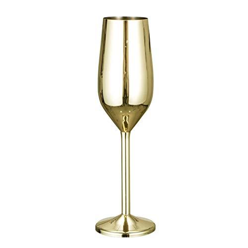 POHOVE 6.76 Unzen Edelstahl Kupfer Champagner Glas, Metall Champagner Glas Bruchsicher Edelstahl Champagner Tasse für Hochzeit, Partys, Jubiläum, Gut Geschenk Für Freund - 1 Pcs-Gold, 6.76 oz