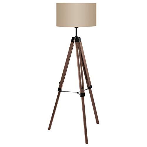 EGLO Stehlampe Lantada, 1 flammige Stehleuchte Vintage, Standleuchte aus Holz, Stahl und Textil, Wohnzimmerlampe in Dunkelbraun und Taupe, Lampe mit Schalter, E27 Fassung