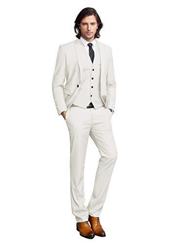 Men's 3-Piece Business Suits one Button Slim Fit Party Wedding Dinner Suit Set Jacket Vest Pants(Ivory,48R)