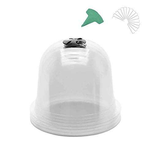 kioski Reusable Plastic Mini Greenhouse, Garden Cloche Dome Plant Bell Protector Cover, Plastic Mini Greenhouse for Frost Freeze Cold Plant Protection with Plant Labels and Ground Securing Pegs