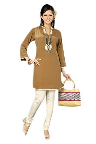Jayayamala Damen Stickerei Kleid für Plus Size Party Wear Tunika Tops Crepe Kurti für Frauen (4XL)