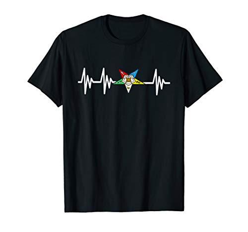 OES Order of the Eastern Star Logo EKG Heartbeat T Shirt