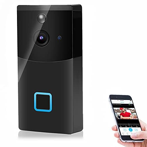 Timbre con video HD 1080P, timbre con videoportero de seguridad, timbre inteligente con WiFi, con visión nocturna por infrarrojos e intercomunicador de...