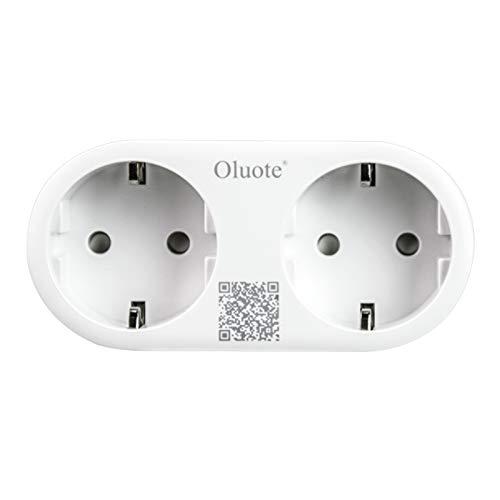 Oluote Enchufe inteligente Wifi, Mini Smart Outlets Compatibles con Alexa y Google Assistant, Control de Voz, Control Remoto y Temporizador, Soporte para Android/IOS (Enchufe 2 en 1)