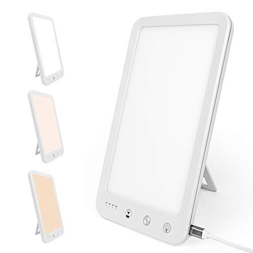 SAD Lampe, WOVTE 10000 Lux natürliche LED-Tageslichtlampe, einstellbare 3-Farben-Temperatur, 4 Timer, 5 Helligkeit, tragbare USB-Sonnenlichtlampen vom Typ C für saisonale Depressionen in Innenräumen
