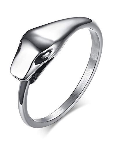 HAMANY Fashion 6.7MM Stainless Steel Ouroboros Snake Animal Ring for Men BoySilverSize 8-12