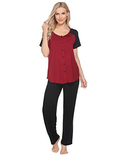Ekouaer Schlafanzug Damen kurz Pyjamas Set mit Kurzarm und Lange Hose Nachtwäsche Loungewear Hausanzug für Frauen Zweiteiliger S-XXL
