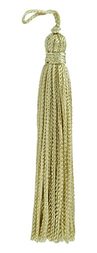 Set of 10 Grain / Beige Chainette Tassel, 10cm Long with 25mm Loop, Basic Trim Collection Style# RT04 Color: Grain - A5
