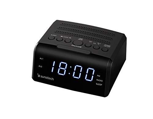 Sunstech FRD35U - Radio despertador con alarma dual, pantalla LED, FM, USB, conexión auriculares, color negro