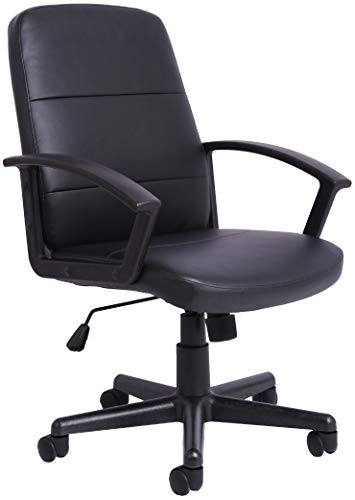 Office Essentials Leather Office Chair with Arms, Computer Desk Chair for Home Office, Swivel Chair, High Back, Wheels, Black