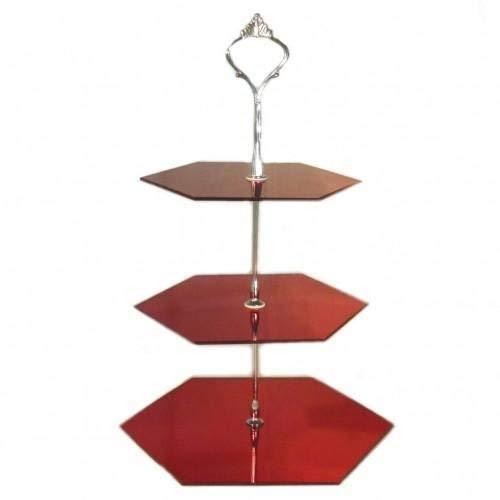Trois Niveaux Hexagonale Présentoir Gâteau - miroir rouge, STANDARD