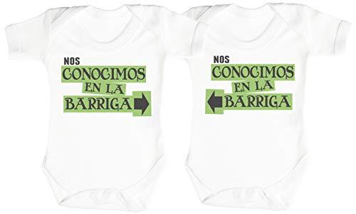 Spoilt Rotten SR - Nos conocimos en la Barriga - Conjunto Gemelo - Camisillas para bebé - Body para bebé niño - Body para bebé niña - Gris