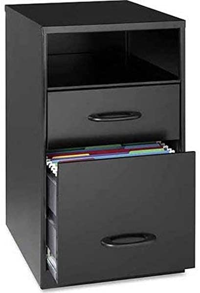 Compact 18 Inch Two Drawer Organizer Clever Open Storage Shelf For Easy Access Accessory And File Drawer With Smooth Glide Suspension Deep Black Finish Sturdy And Durable Steel Construction