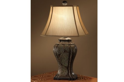 Poundex Set of 2, Classical table lamp w/ elaborate textures and circular curves