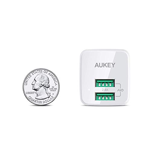 AUKEY USB Wall Charger, Ultra Compact Dual Port 2.4A Output & Foldable Plug for iPhone 11 Pro / 11 Pro Max / 11 / XS/XS Max/XR, iPad Pro/Air 2 /Mini 4, Samsung and More