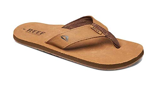 Reef Men's Sandals Leather Smoothy | Classic Leather Beach Flip Flop with Woven Strap and Arch Support | Bronze Brown | Size 9