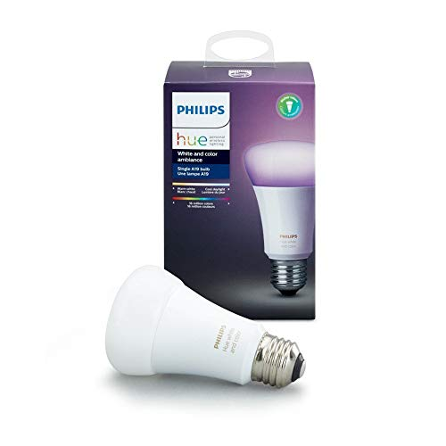 Philips Hue Single Premium A19 Smart Bulb, 16 million colors, for most lamps & overhead lights (Hue Hub Required, Works with Alexa), Old Version