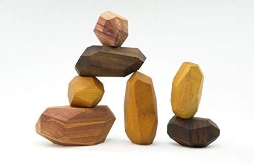 Tumi Ishi 7 Piece Wood Rock Set - Mixed Wood Species - Balancing Blocks - Natural Wood Toy - Organic Jojoba oil and Beeswax Finish - Handmade Wooden Toys - Sensory Toy - USA Made - Personalizable