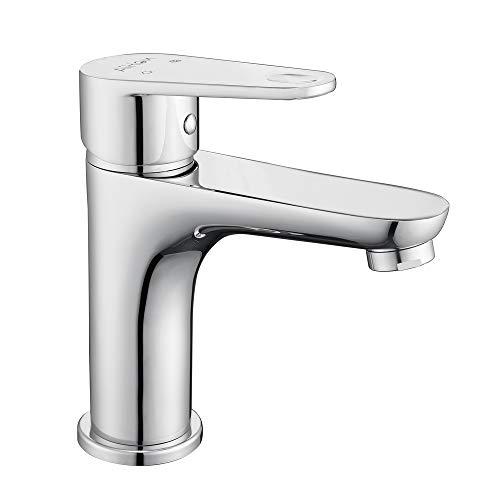 Aihom Badarmatur Wasserhahn Bad, Einhand-Waschtischbatterie mit Geräuscharmem, Einhandmischer aus Messing, für Badezimmer, Chrom