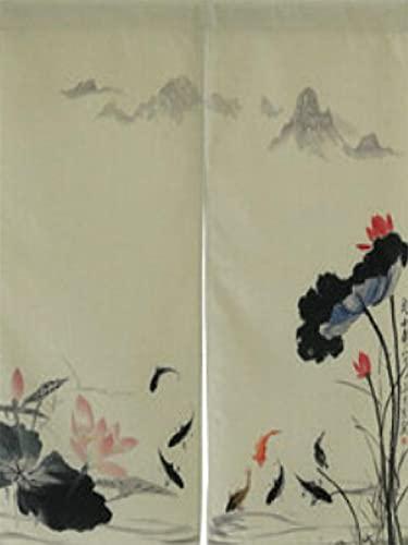Flor de Pintura al óleo Negra Gris Azul Noren Doorway Cortina Japonesa, Puerta Corta, Tapicería, Algodón, Lino, Decoración De La Habitación 90x150 cm