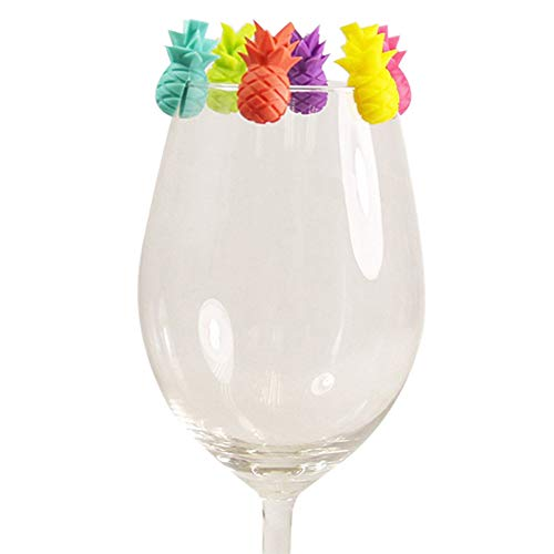 6 Stück/Set Cup Recognizer Wiederverwendbare Teebeutel Aufhänger Ananas-form-glas Identifiers Silikon Drinking Buddies Trinken Marker Für Wein-dekor
