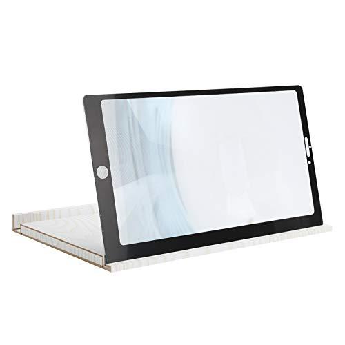 Zunate 12-Zoll-Telefonbildschirmverstärker, 3D-HD-Smartphone-Verstärker, Augenschutz-Videovergrößerung für Mobiltelefone mit 3D-HD-Bildqualität(Weiß)