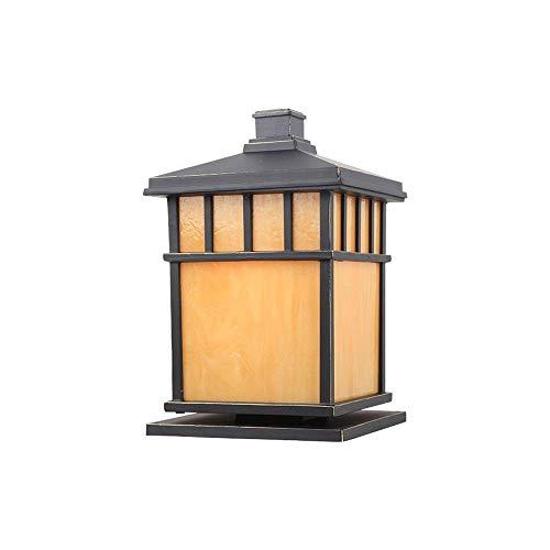 HIGHKAS Outdoor 1-Light Garden Post Lamps Pillar Lighting Fixture, Traditional Square Post Lamp Patio with E27 Base, Waterproof, Black Cast Aluminum Housing, PVC Lampsha(Size : S)