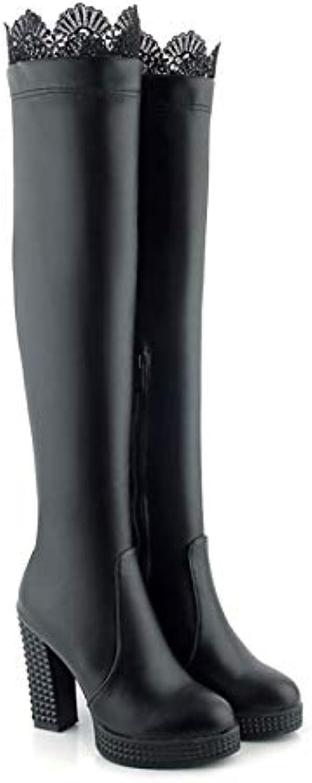 IWxez Sautope da Donna Comfort PU (Poliuretano) Stivali Autunno & Inverno Chunky Heel nero