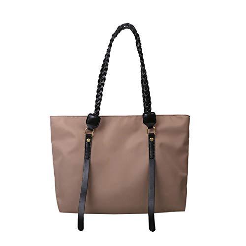 Bolso diario simple de las mujeres, bolso de las mujeres, cinturón trenzado portátil, bolso diario de un solo hombro, marrón claro (Marrón) - yuery-U3MHXL