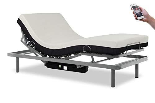 Gerialife® Cama articulada con Mando inalámbrico y colchón viscoelástico 20 cm. Plateado (105x190)