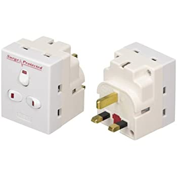 3 Way Switched Adapter Surge Protected Plug 13AMP UK Neon Multi Plug Fuse