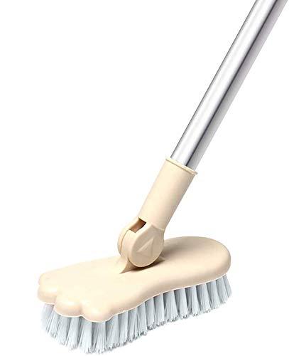 LandHope Long Handled Scrub Brush Rotatable Brush Head Floor Brush Scrubber Adjustable Poles Small Shower Tile Grout Scrubber Cleaning Brush for Bathroom Bathtub Kitchen Balcony Wall Deck - Beige