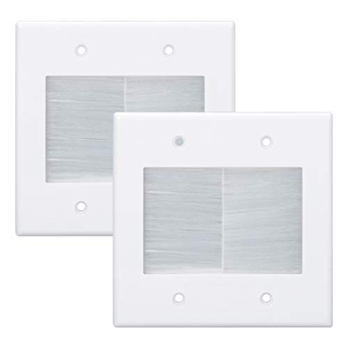 Kebulldola 2 Gang Brush Wall Plate White 2 Pack, Double Gang Cable Management Kit for TV Coaxial, HDMI, Ethernet Cables, Speaker Wires and Power Cords Pass Through.