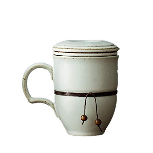 Taza de cerámica de tres piezas Pareja japonesa filtro de oficina con tapa taza de té para el hogar