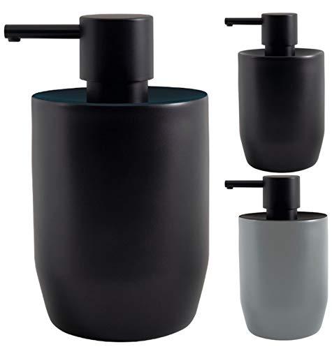 Spirella Seifenspender Jaro mit Edelstahlpumpe Flüssigseifen-Spender Porzellan 300ml Langliebig und Robust Petrol Schwarz