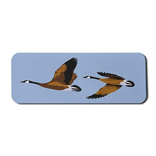 Goose Computer Mouse Pad, Cartoon-Zeichnung von Wildgänsen, die auf Himmel fliegen, Rechteck rutschfestes Gummi-Mauspad Großes blasses Azurblau-Braun