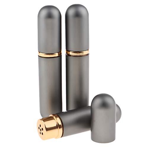 Fenteer 3pièces 5ml Bouteilles De Parfum Pompe en Verre et Métal Fioles Flacons en Verre Tube De Pulvérisation Vide - Gris