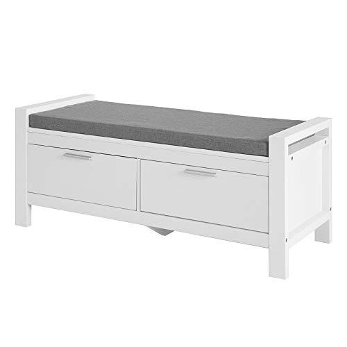 SoBuy FSR74-W Sitzbank mit Stauraum mit 2 Schubladen Bettbank mit Sitzfläche Garderobenbank Schuhbank Belastbarkeit 120 kg Weiß BHT ca.: 100x40x40cm