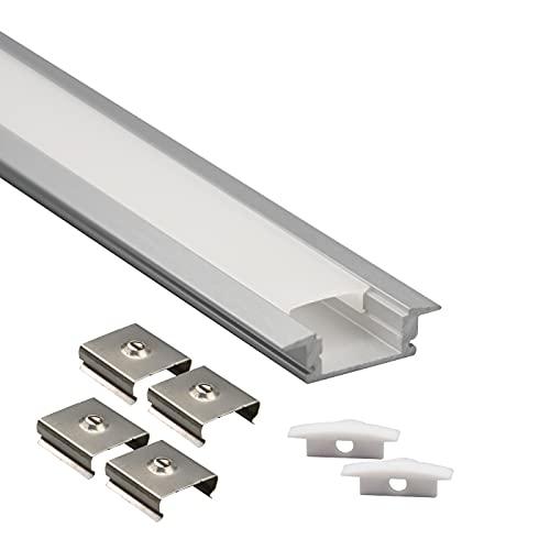 Profilo Alluminio da INCASSO 2 metri per Strisce LED con Copertura Opaca, Tappi e Ganci inclusi
