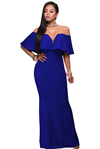 AlvaQ Womens Sexy Maternity Elegant Wedding V Neck Ruffle Off The Shoulder Evening Long Maxi Party Dress , Blue, Medium